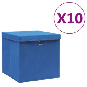 10 Caixas de arrumação com tampas 28x28x28 cm azul - PORTES GRÁTIS