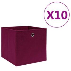 10 Caixas arrumação TNT 28x28x28 cm vermelho-escuro - PORTES GRÁTIS