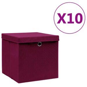 10 Caixas de arrumação c/ tampas 28x28x28cm vermelho-escuro - PORTES GRÁTIS