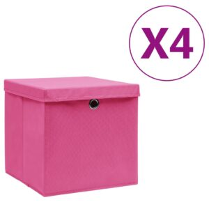 4 Caixas de arrumação com tampas 28x28x28 cm rosa - PORTES GRÁTIS