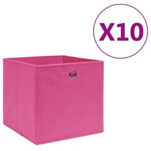 10 Caixas arrumação tecido-não-tecido 28x28x28 cm rosa - PORTES GRÁTIS