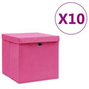 10 Caixas de arrumação com tampas 28x28x28 cm rosa - PORTES GRÁTIS