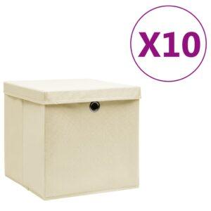 10 Caixas de arrumação com tampas  28x28x28 cm cor creme - PORTES GRÁTIS