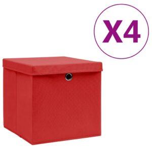 4 Caixas de arrumação com tampas  28x28x28 cm vermelho - PORTES GRÁTIS