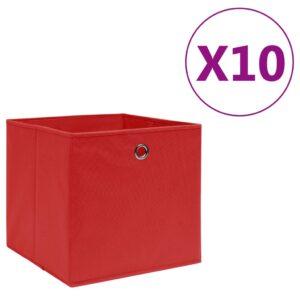 10 Caixas arrumação tecido-não-tecido 28x28x28 cm vermelho - PORTES GRÁTIS