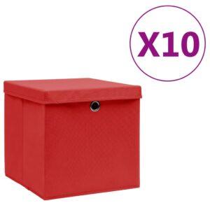 10 Caixas de arrumação c/ tampas  28x28x28 cm vermelho - PORTES GRÁTIS