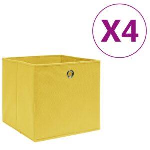 4 Caixas arrumação tecido-não-tecido 28x28x28 cm amarelo - PORTES GRÁTIS