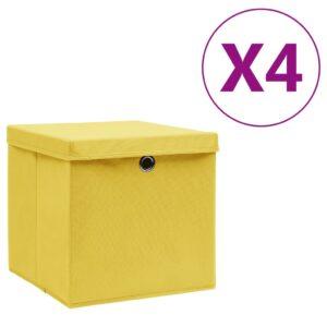4 Caixas de arrumação com tampas  28x28x28 cm amarelo - PORTES GRÁTIS