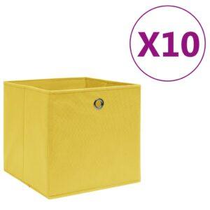 10 Caixas arrumação tecido-não-tecido 28x28x28 cm amarelo - PORTES GRÁTIS