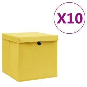 10 Caixas de arrumação com tampas 28x28x28 cm amarelo - PORTES GRÁTIS