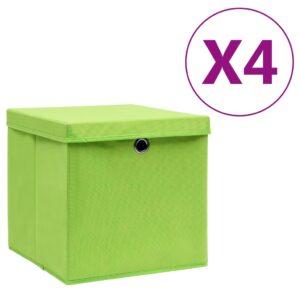 4 Caixas de arrumação com tampas 28x28x28 cm verde - PORTES GRÁTIS