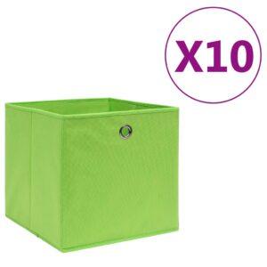 10 Caixas arrumação tecido-não-tecido 28x28x28 cm verde - PORTES GRÁTIS