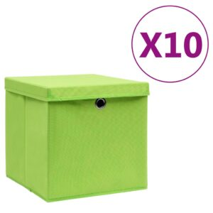 10 Caixas de arrumação com tampas 28x28x28 cm verde - PORTES GRÁTIS