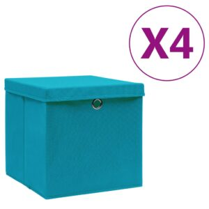 4 Caixas de arrumação com tampas 28x28x28 cm azul-bebé - PORTES GRÁTIS