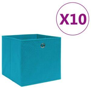 10 Caixas arrumação tecido-não-tecido 28x28x28 cm azul-bebé - PORTES GRÁTIS