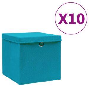 10 Caixas de arrumação com tampas  28x28x28 cm azul-bebé - PORTES GRÁTIS