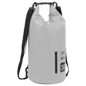 Bolsa impermeável com fecho 30 L PVC cinzento - PORTES GRÁTIS