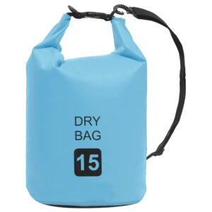 Bolsa impermeável 15 L PVC azul - PORTES GRÁTIS