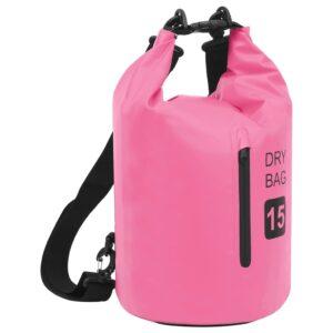 Bolsa impermeável com fecho 15 L PVC rosa - PORTES GRÁTIS