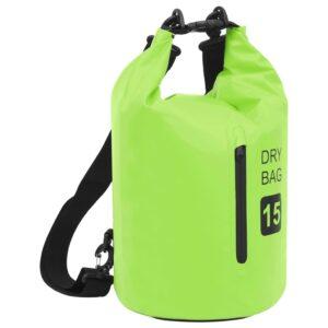 Bolsa impermeável com fecho 15 L PVC verde - PORTES GRÁTIS