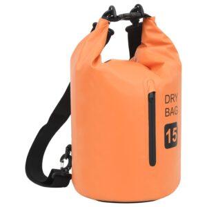 Bolsa impermeável com fecho 15 L PVC laranja - PORTES GRÁTIS