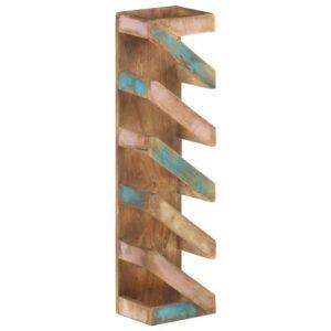 Garrafeira para 5 garrafas madeira recuperada maciça - PORTES GRÁTIS