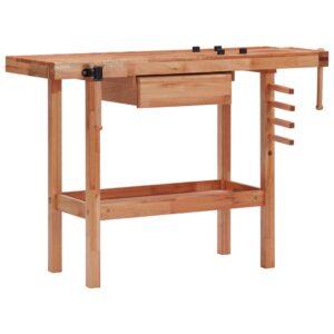 Bancada de carpintaria com gaveta e 2 tornos madeira de folhosa - PORTES GRÁTIS