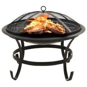 Braseira e barbecue 2-em-1 com atiçador 56x56x49 cm aço - PORTES GRÁTIS