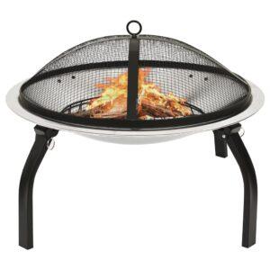 Braseira e barbecue 2-em-1 com atiçador 56x56x49 cm aço inox. - PORTES GRÁTIS