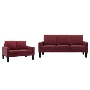 2 pcs conjunto de sofás couro artificial vermelho tinto - PORTES GRÁTIS