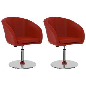 Cadeiras de jantar 2 pcs couro artificial vermelho - PORTES GRÁTIS