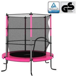 Trampolim com rede de segurança redondo 140x160 cm rosa - PORTES GRÁTIS