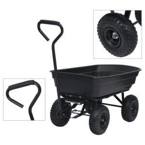 Carrinho de mão basculante para jardim 300 kg 75 L preto - PORTES GRÁTIS