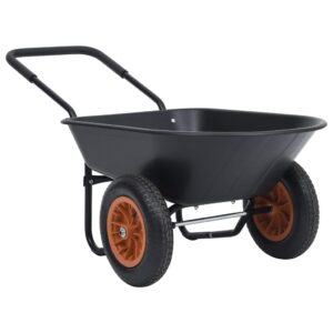 Carrinho de mão 78 L 100 kg preto e laranja - PORTES GRÁTIS