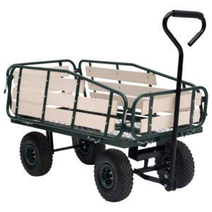 Carrinho de mão para jardim 250 kg metal e madeira - PORTES GRÁTIS