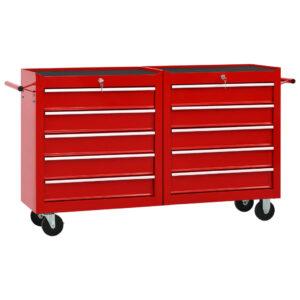 Carrinho de ferramentas com 10 gavetas aço vermelho - PORTES GRÁTIS
