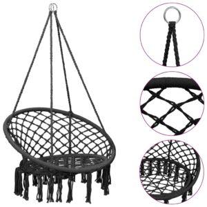 Cadeira de baloiço em rede 80 cm antracite - PORTES GRÁTIS