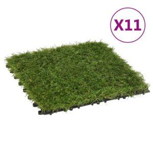 Pavimento de relva artificial 11 pcs 30x30 cm verde  - PORTES GRÁTIS