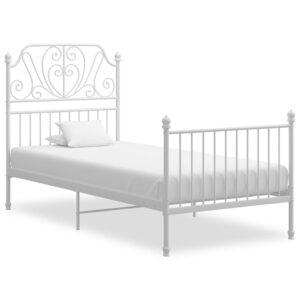 Estrutura de cama 90x200 cm metal e contraplacado branco - PORTES GRÁTIS