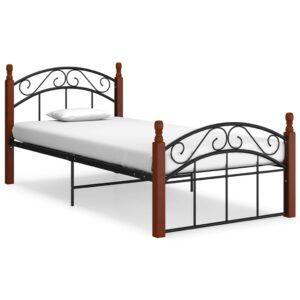 Estrutura de cama 100x200cm metal/madeira carvalho maciça preto  - PORTES GRÁTIS