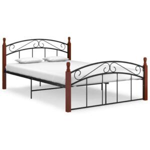 Estrutura de cama 140x200cm metal/madeira carvalho maciça preto  - PORTES GRÁTIS
