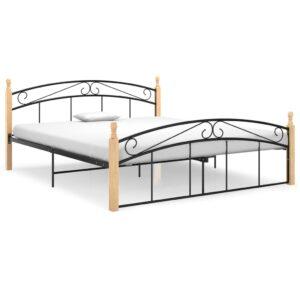 Estrutura de cama 160x200cm metal/madeira carvalho maciça preto  - PORTES GRÁTIS