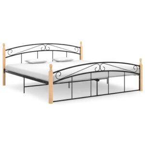Estrutura de cama 180x200cm metal/madeira carvalho maciça preto  - PORTES GRÁTIS