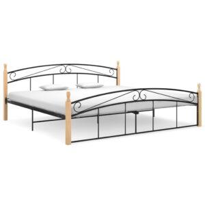 Estrutura de cama 200x200cm metal/madeira carvalho maciça preto  - PORTES GRÁTIS
