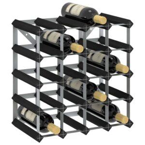 Garrafeira para 20 garrafas madeira de pinho maciça preto - PORTES GRÁTIS