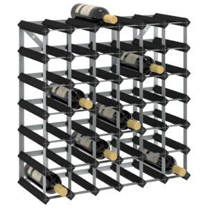 Garrafeira para 42 garrafas madeira de pinho maciça preto - PORTES GRÁTIS