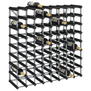 Garrafeira para 72 garrafas madeira de pinho maciça preto - PORTES GRÁTIS