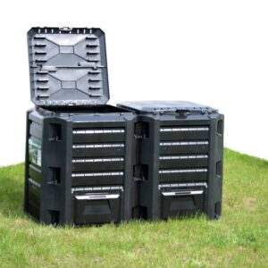 Caixote de compostagem para jardim 380 L preto - PORTES GRÁTIS