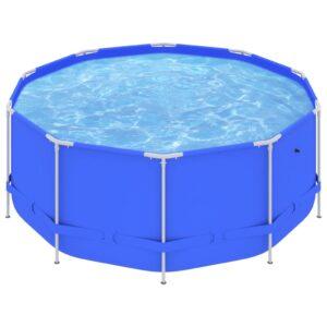 Piscina com estrutura de aço 367x122 cm azul - PORTES GRÁTIS