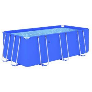 Piscina com estrutura de aço 400x207x122 cm azul - PORTES GRÁTIS